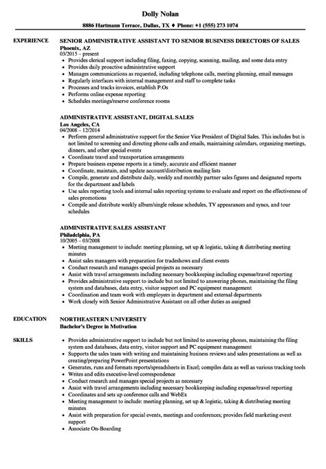 resume sles for administrative administrative sales assistant resume sles velvet