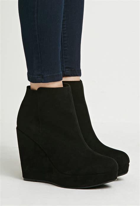 Heels Suede Black 2 lyst forever 21 faux suede wedge booties in black