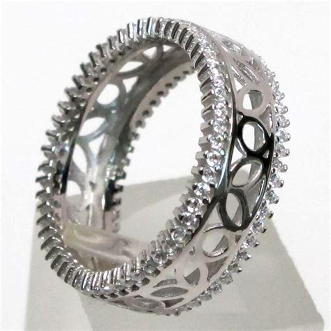 Ring Black White Crepe Import gorgeous white 925 sterling silver band ring size 5 10 ebay