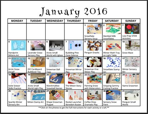 themed monthly events january activities for kids monthly play calendar lalymom