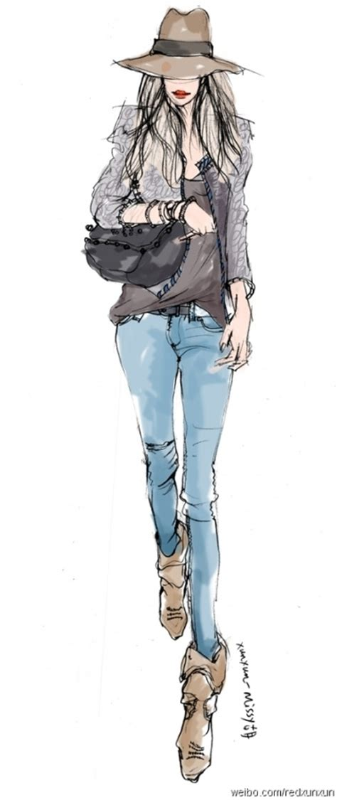 fashion illustration denim 画潮 图片素材 q友网