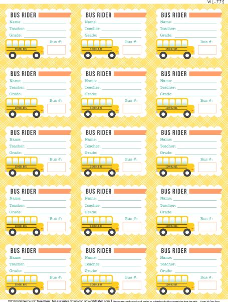 printable calendar labels free printable bus rider labels for school kids teachers