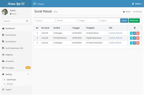 membuat sistem informasi sederhana berbasis web aplikasi pengarsipan surat menyurat berbasis web dengan
