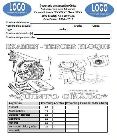 examen de quinto de primaria tercer bloque examen del quinto grado del tercer bloque ciclo escolar