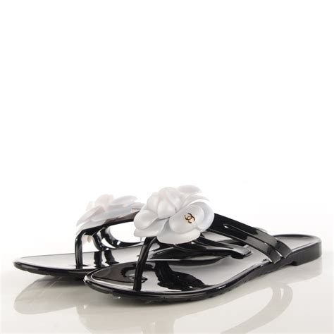 chanel jelly sandals chanel jelly camellia sandals 38 black white 123792