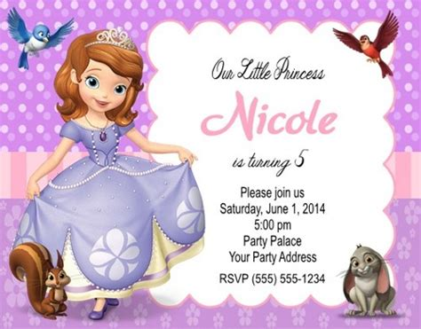 sofia the birthday card template sofia the birthday invitations personalized