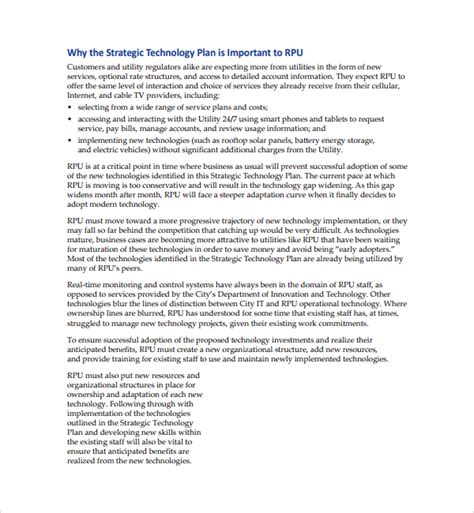 technology business plan template sle technology plan template 9 free documents in pdf