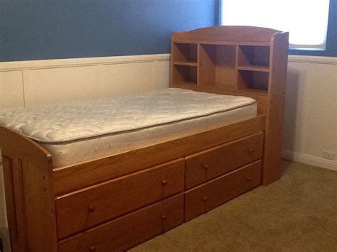 oak captains bed letgo oak twin size captains bed in ontario ca