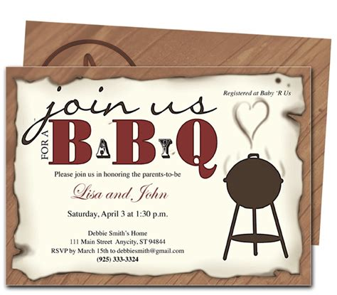 barbecue invitation template baby shower invitations babyq shower invitation template