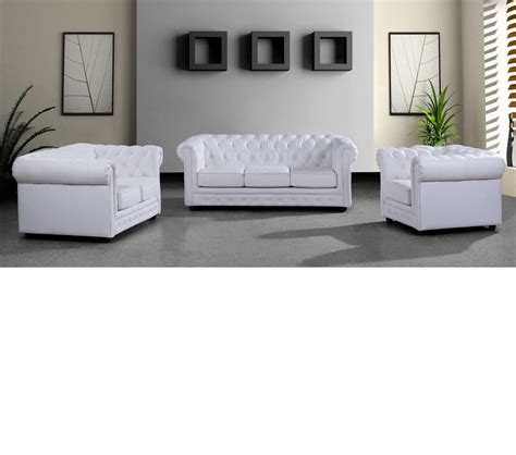 Modern White Leather Sofa Set Dreamfurniture 3 Modern White Leather Sofa Set