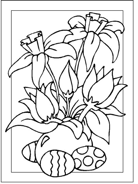 free coloring pages of easter flowers easter colouring easter eggs and flowers colouring page