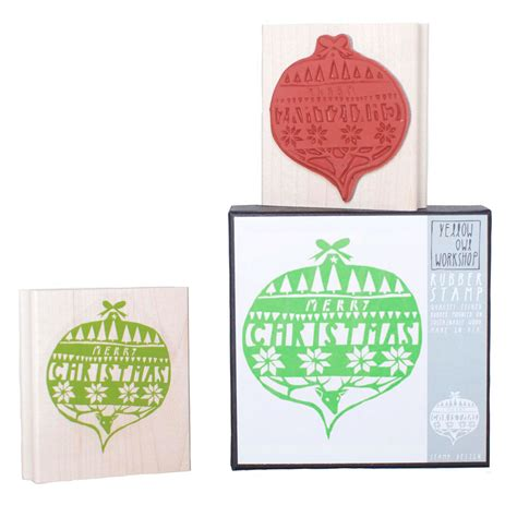 stickytiger yellow owl workshop merry christmas ornament stamp set