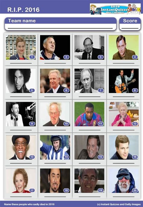 quiz questions uk 2016 rip 2016 picture quiz name the famous people who died in