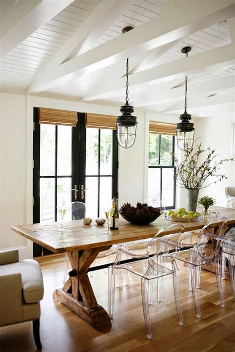 modern farmhouse kitchen dining area lucite side chairs