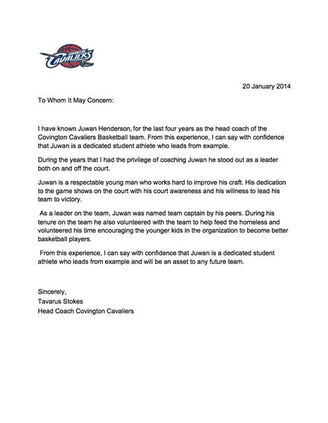 Recommendation Letter For College Athlete athletic letter of recommendation from coach