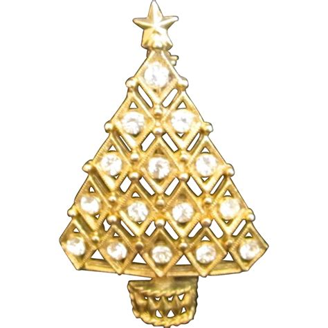 lovely rhinestone christmas tree pin from shopveronica on