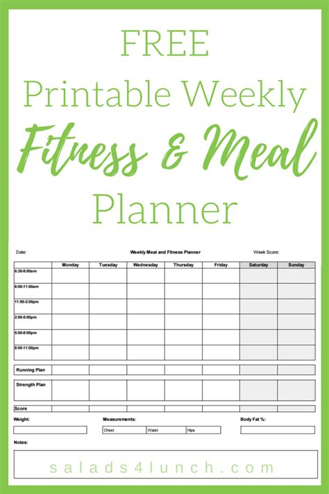 Galerry printable weekly meal and exercise planner