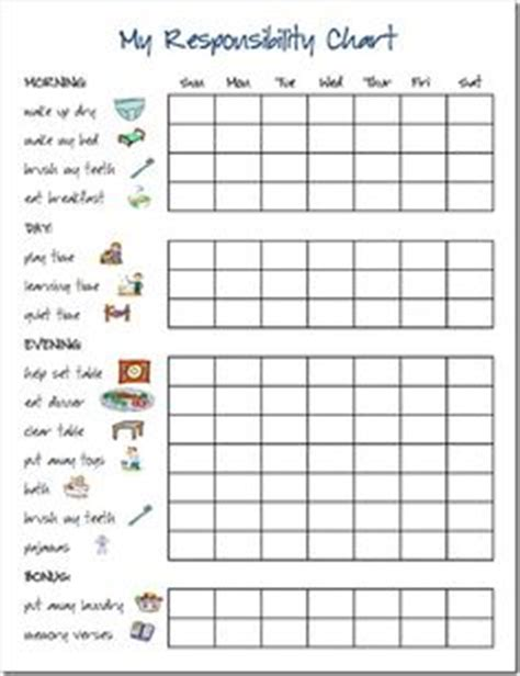 Printable Reward Charts For 9 Year Olds | daily responsibilities chart for kids free printable to