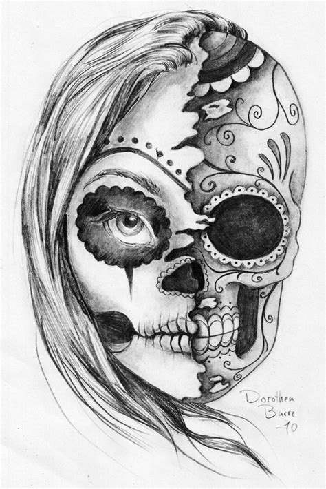two face tattoo sugar skull designs for