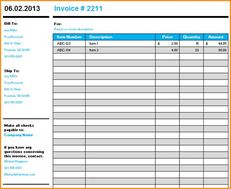 9 Microsoft Excel Invoice Template Invoice Template Download Template Microsoft Office