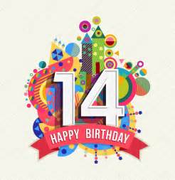 happy birthday 14 year greeting card poster color stock vector 169 cienpies 96177514