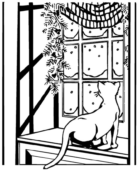 crayola coloring cat page cat watching snow coloring page crayola com