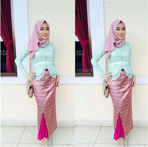 model baju batik songket model baju kebaya muslim modern hairstylegalleries com