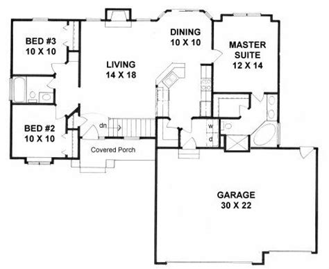 plan 1224 3 bedroom ranch with walk in pantry and 3 car