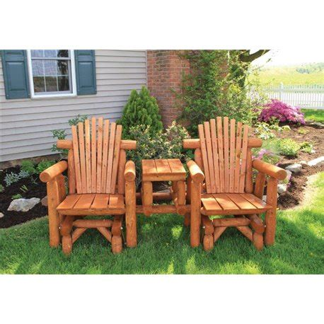 outdoor log adirondack chairs stained white cedar log gliding settee with center table