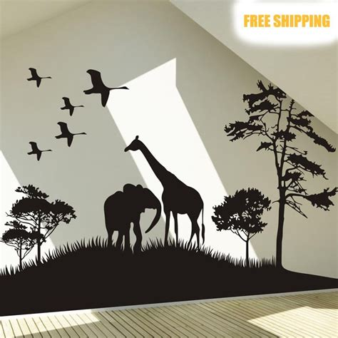 large animal wall stickers 2015 selling big size safari africa animals wall stickers elphant tree wall decals animal