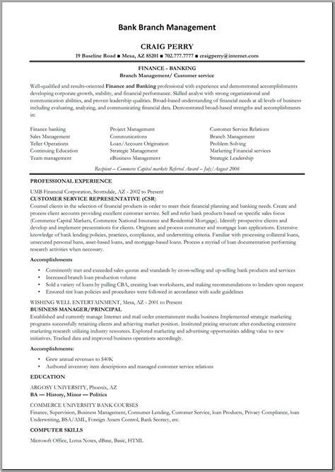 Bank Manager Resume   Free Resume Templates