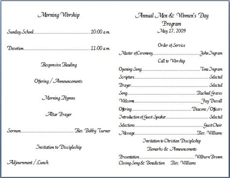 church bulletins samples