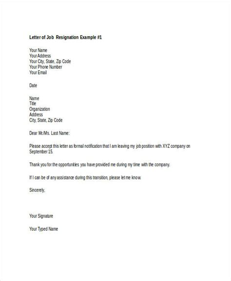 Resignation Letter Sle New Career 49 Resignation Letter Exles
