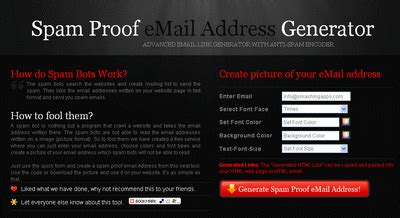 Spam Email Address Lookup Spam Proof Email Address Generator Is An Advanced Email Link Generator With Anti Spam