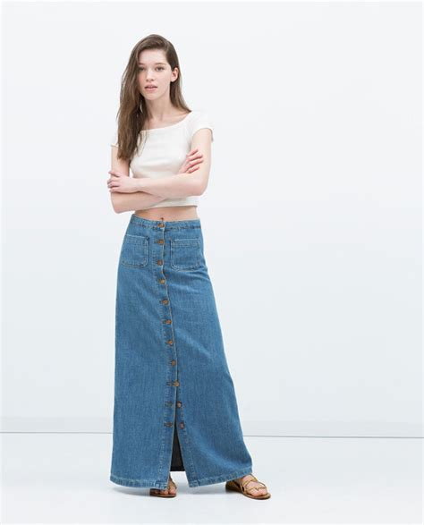 denim skirts 2015 fashion single breasted floor