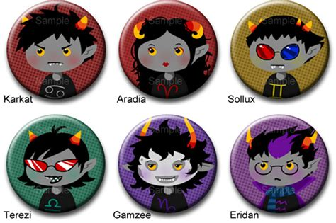 homestuck troll button set 1 by roseannepage on deviantart