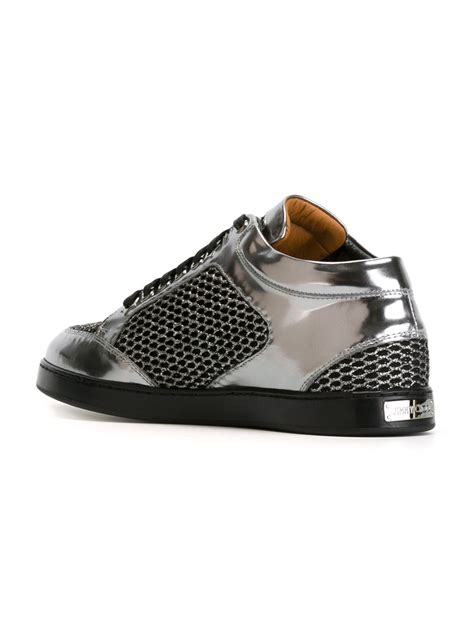 jimmy choo sneakers jimmy choo miami sneakers in silver metallic lyst