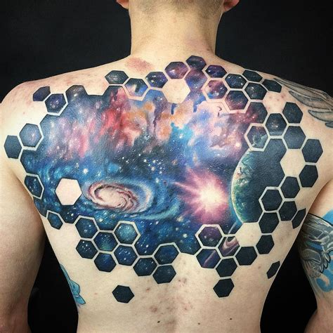 space back piece with hexagons best tattoo design ideas