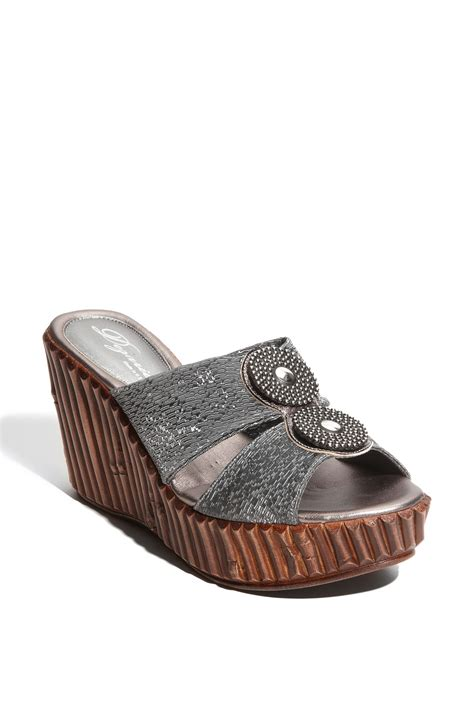 grey sandal wedges dezario peseta wedge sandal in gray grey lyst