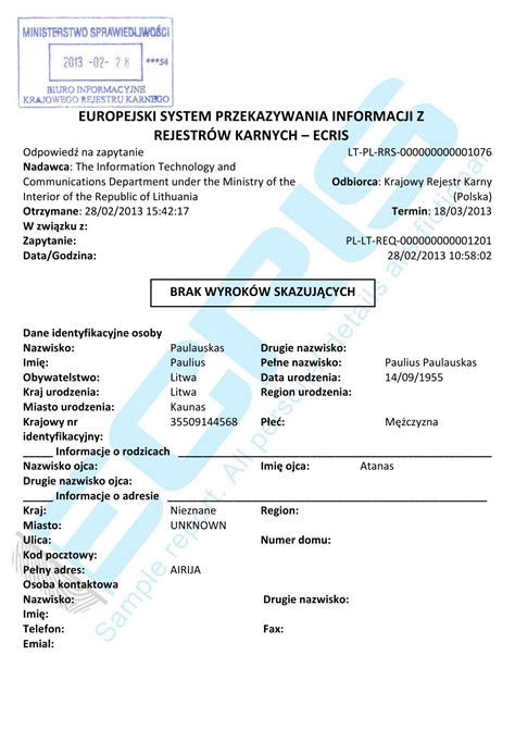 Criminal Record Certificate Lithuanian Criminal Record Check From Institutional Register Of Suspected Accused And