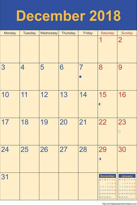 2018 December Calendar December Calendar 2018 Template Portrait Printable