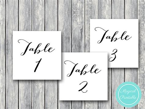 ts k wd01 wedding table numbers printable diy table number sign