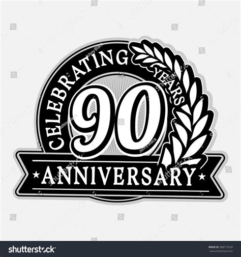anniversary logo template 90 years anniversary logo template vector stock vector