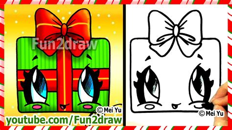 How to draw christmas presents kawaii gift with bow fun2draw