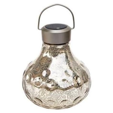 Home Depot Mercury Glass L by Vintage Silver Glass Large Tabletop Solar Led Lantern