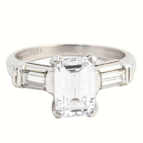 1 54 carat emerald cut platinum classic engagement