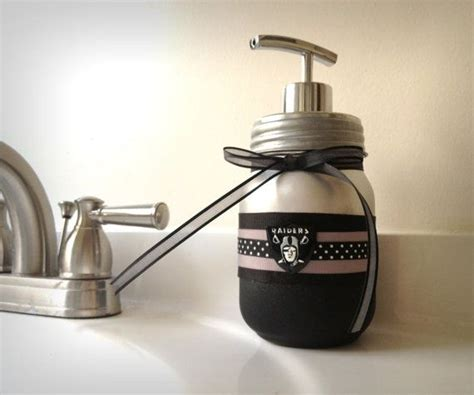 raiders bathroom set oakland raiders soap dispenser mason jar soap dispenser