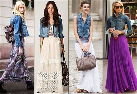 maxi skirt with denim jacket gorgeautiful