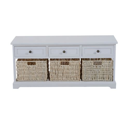 Entryway Table With Baskets Entryway Wooden Storage Bench With 3 Drawers Baskets Home Furniture Organizer