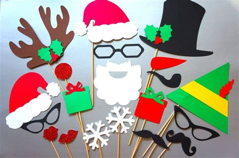 christmas photo booth props 20 piece set glitter